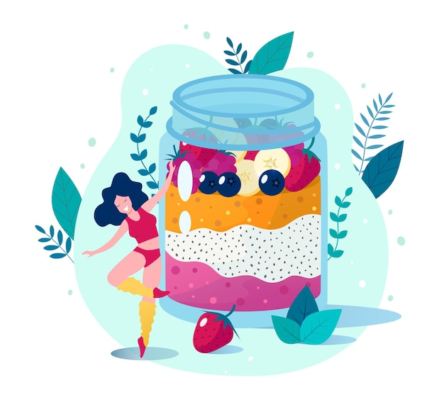 Ilustracja budyń truskawkowy z nasion chia i mango