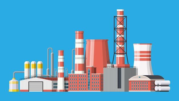 Ilustracja budynków przemysłowych fabryki