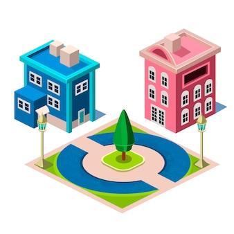 Ilustracja budynku domu i parku