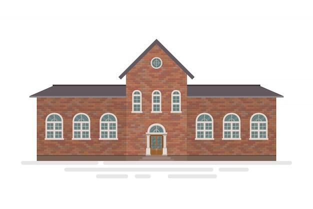 Ilustracja budynku high school na białym tle