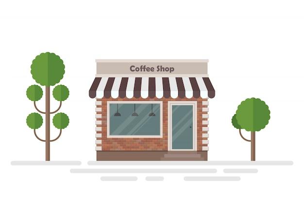 Ilustracja budynku kawiarni i drzew