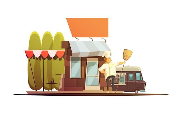 Ilustracja budynku lokalnego sklepu