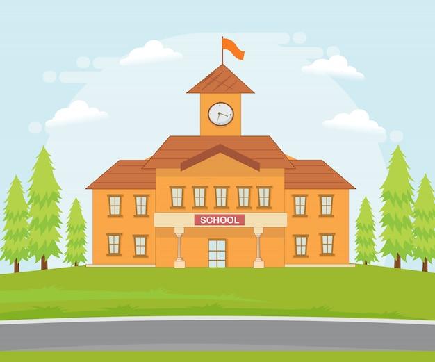 Ilustracja budynku szkoły.