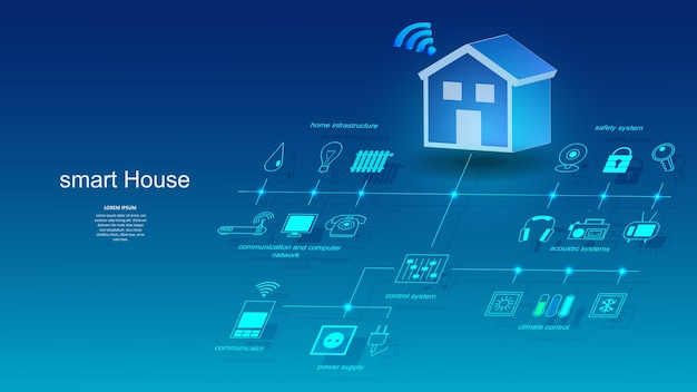 Ilustracja budynku z elementami systemu inteligentnego domu.