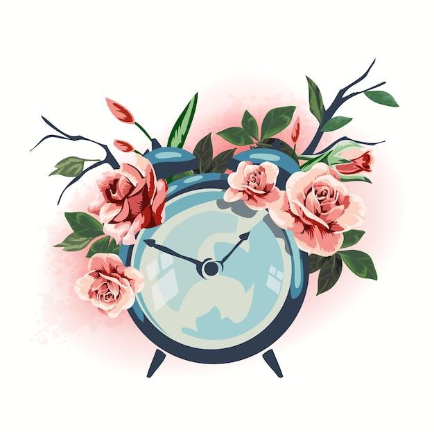 Ilustracja budzik artykuły gospodarstwa domowego ozdobione kwiatami.