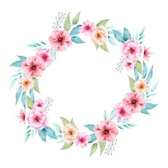 Ilustracja bujny wieniec kwiatowy w stylu przypominającym akwarele