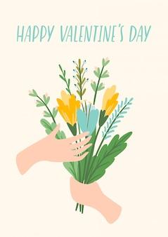 Ilustracja bukiet kwiatów. projekt na walentynki