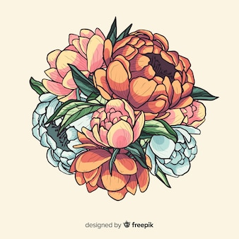 Ilustracja bukiet vintage kwiat