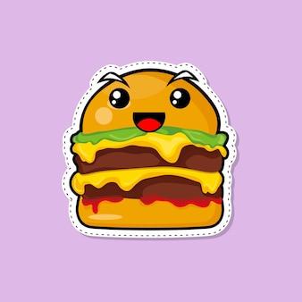 Ilustracja burger naklejki. koncepcja ikona fast food na białym tle. płaski styl kreskówki