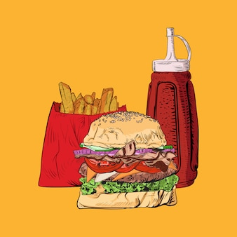 Ilustracja burgera i frytek, smaczne popularne jedzenie, kompleks fast foodów, styl grawerowania