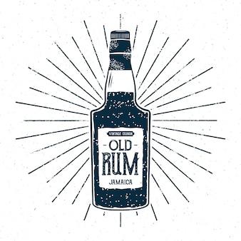 Ilustracja butelka retro rumu