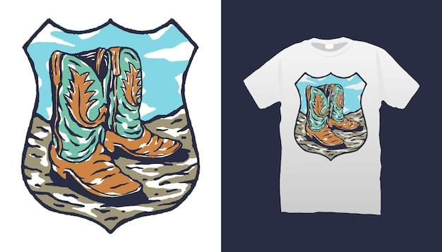 Ilustracja buty kowbojskie