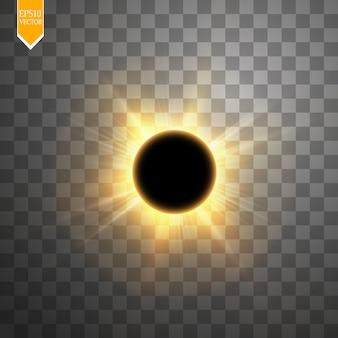 Ilustracja całkowitego zaćmienia słońca na przezroczystym tle