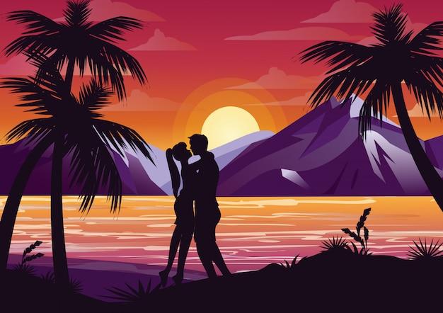 Ilustracja całuje sylwetka para na plaży pod palmą na tle zachodu słońca i góry w stylu płaski.