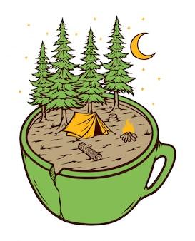 Ilustracja camping i puchar
