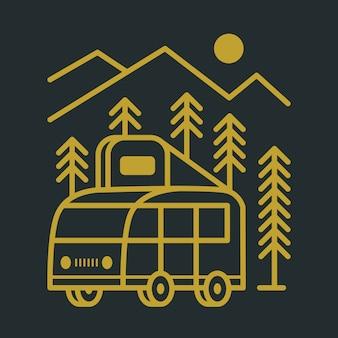 Ilustracja camping van mountain