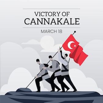 Ilustracja canakkale z bohaterami i flagą