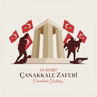 Ilustracja canakkale z żołnierzami i pomnikiem