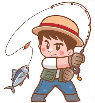 Ilustracja cartoon boy połowów