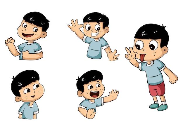 Ilustracja cartoon chłopiec zestaw naklejek