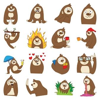 Ilustracja cartoon cute sloth set