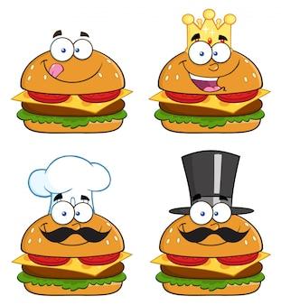 Ilustracja cartoon hamburger postacie