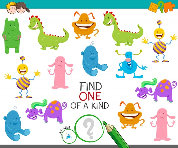 Ilustracja cartoon one of a kind picture game