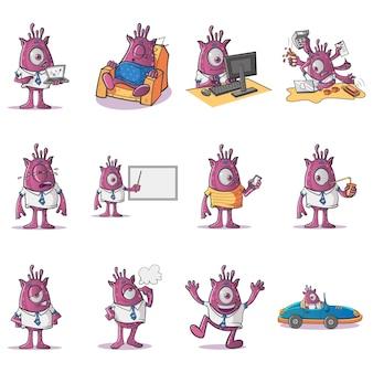Ilustracja cartoon profesjonalny zestaw potworów