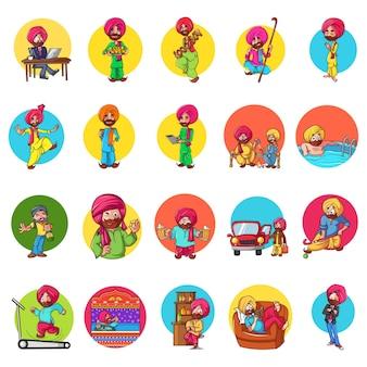 Ilustracja cartoon punjabi man