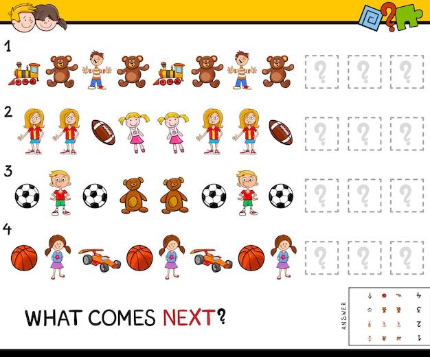 Ilustracja cartoon uzupełnienie wzoru gra edukacyjna dla dzieci