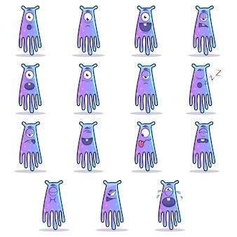 Ilustracja cartoon zestaw potworów.