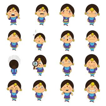 Ilustracja cartoon zestaw punjabi kobieta.