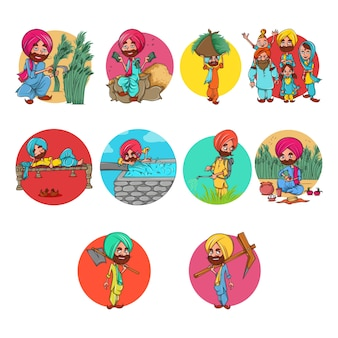 Ilustracja cartoon zestaw rolnik punjabi