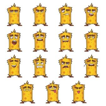 Ilustracja cartoon zestaw żółtego potwora.