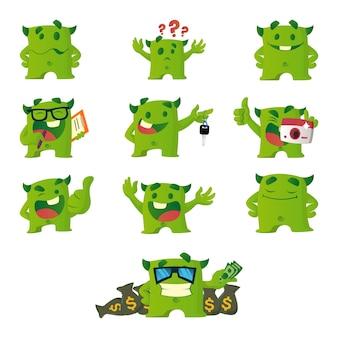 Ilustracja cartoon zielony zestaw potworów.