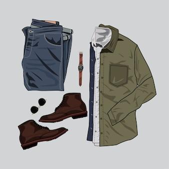 Ilustracja casual strój