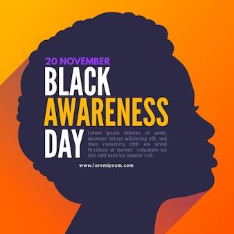 Ilustracja celebracja dnia świadomości czarny z profilem kobiety