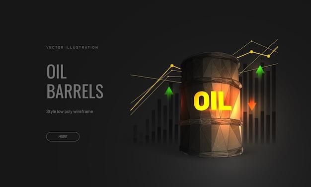 """Ilustracja cen ropy na białym tle z wykresem wzrostu na rynku inwestycyjnym i strzałkami handlowymi w górę lub w dół - tekst """"ropa"""" na beczce 3d w wielokątnym stylu szkieletowym"""