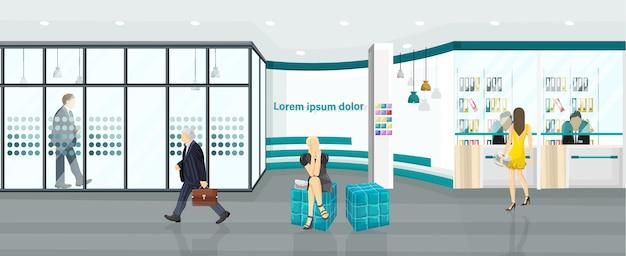 Ilustracja centrum biznesu. ludzie idący lub omawiający projekty. płaski styl centrum telefonicznego, banku lub centrum technologii