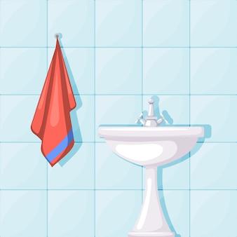Ilustracja ceramiczna umywalka w łazience, ściany wyłożone kafelkami i czerwony ręcznik. styl kreskówki. umeblowanie łazienki
