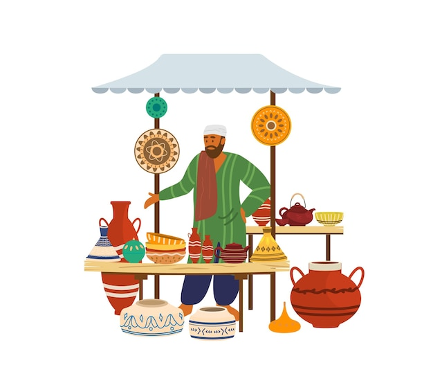 Ilustracja ceramicznego sklepu ulicznego z arabskim sprzedawcą.
