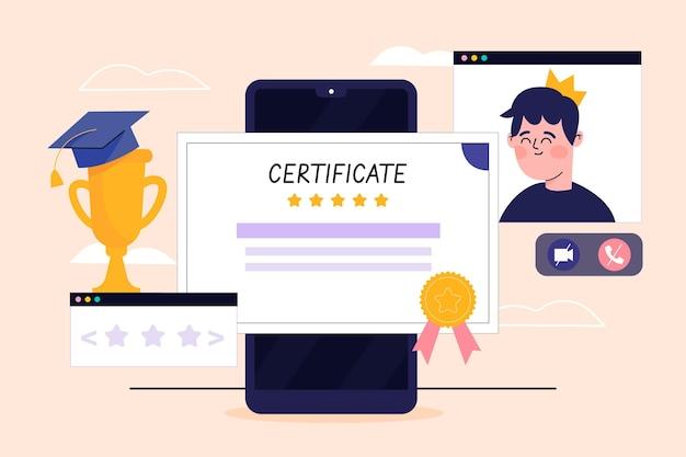 Ilustracja certyfikacji online z smartphone