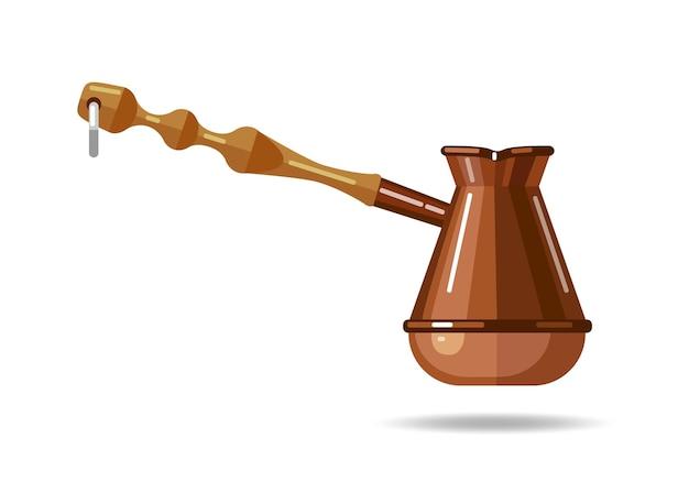 Ilustracja cezve w płaskim stylu motyw kawy koncepcja miłośników kawy kawa po turecku