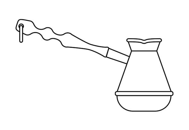 Ilustracja cezve w stylu linii motyw kawy koncepcja miłośników kawy linia sztuki wektor turecki
