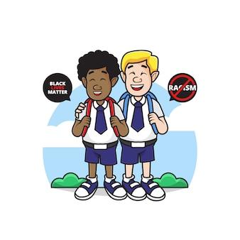 Ilustracja charakter białych i czarnych ludzi iść do szkoły z symbolem stop rasizmu