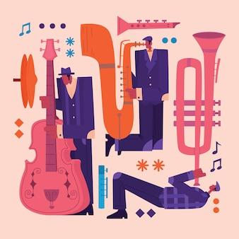 Ilustracja charakter muzyków jazzowych w stylu retro