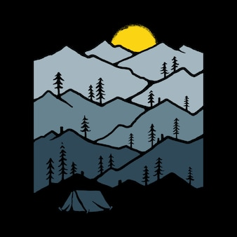 Ilustracja charakter obozu górskiego