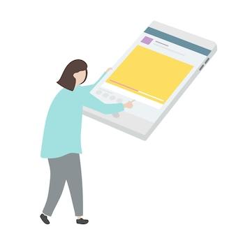 Ilustracja charakter używa cyfrową pastylkę