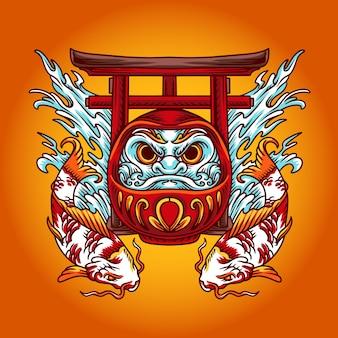 Ilustracja chińska daruma