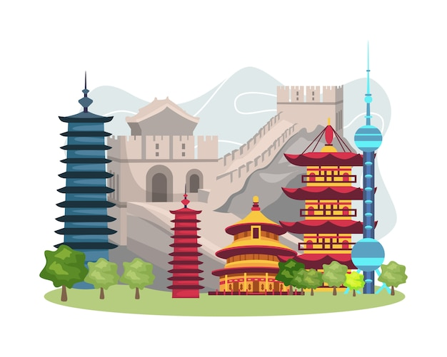 Ilustracja chiny punkt orientacyjny